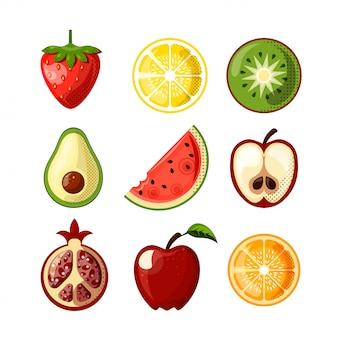 白い背景に分離された新鮮なジューシーなフルーツフラットアイコン。イチゴ、レモン、キウイ、スイカ、その他の果物を1つのコレクションにまとめました。健康食品-果物のフラットアイコンセット。