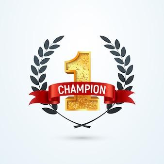 1 место чемпиона изолированных значок. победитель номер один красная лента и венок