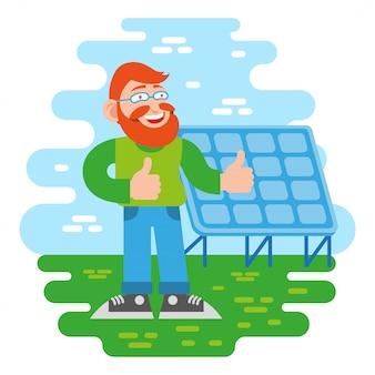 1つの若いかわいい幸せな笑顔楽しい赤毛男ヒップスターエコ都市から良いひげと太陽エネルギーバッテリー代替技術モダンなスタイルのイラスト漫画キャラクターフラットデザインの近くに立ちます。