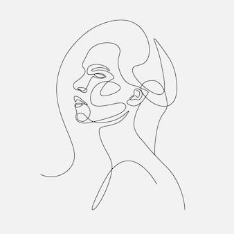 女性の頭ラインアートイラスト。 1つの線画。