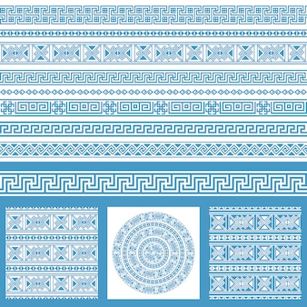ベクトルは、民族のギリシャデザイン要素のコレクションを設定します。青と白の装飾的なシームレスパターンと1メガパックのボーダー。