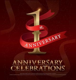 赤いリボンと1年の記念日の祝賀ゴールデンロゴ