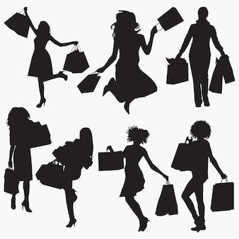 買い物袋を持つ女性1シルエット