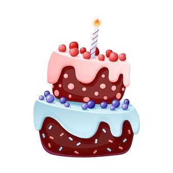 1つのキャンドルでかわいい漫画のお祝いケーキ