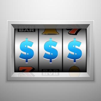 スロットマシンまたは1つの武装した盗賊スコアボード。カジノとギャンブルのコンセプト