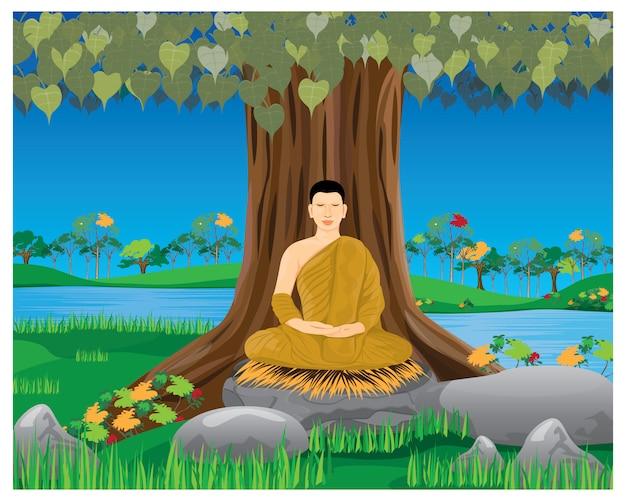 ツリーの下の1つの修道士瞑想