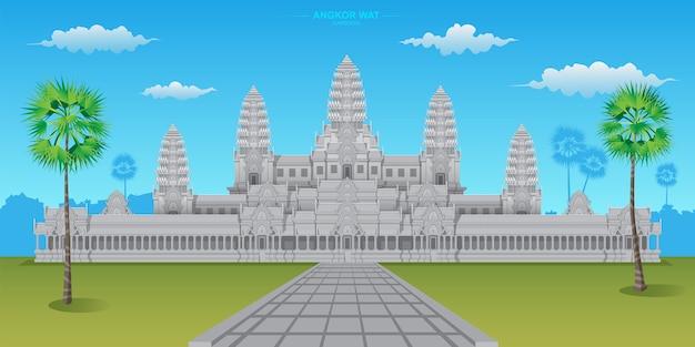 アンコールワットは、カンボジアにある世界遺産の1つで、世界最大のヒンドゥー寺院です。