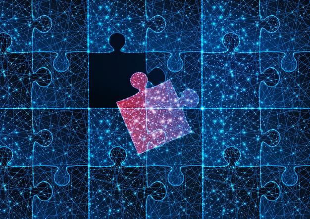 1つの赤い一致する行方不明の部分と未来的な輝く低多角形青いジグソーパズルゲーム。