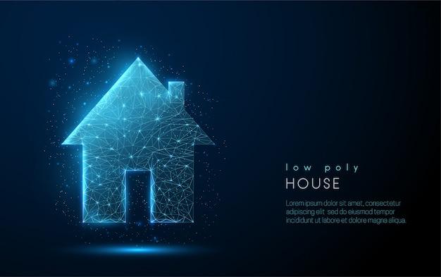 1つのカントリーハウスを抽象化します。低ポリスタイルのデザイン。