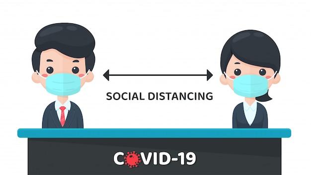 人混みを避ける。社会空間によるコロナウイルスの蔓延防止対策。周囲の人に1メートル以内で近づいてください。