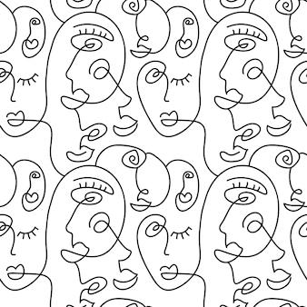 1つの線画の抽象的な顔のシームレスなパターン。モダンなミニマリズムアート、美的な輪郭