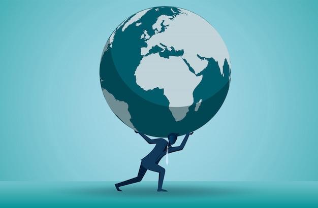 1人のビジネスマンのイラストは、頭の上に地球を持ち上げています