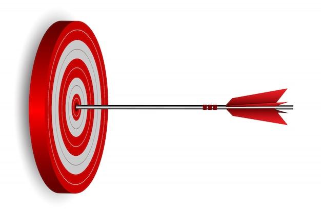 ターゲットサークルの図に赤の1つの矢ダーツ