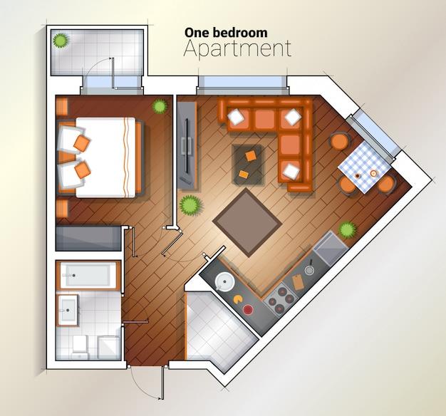 ベクトル現代1ベッドルームアパートメントトップビューイラスト
