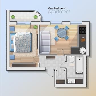 モダンな1ベッドルームアパートメントのベクトル平面図。キッチン、バスルーム、寝室と組み合わせたダイニングルームの詳細な建築計画。ホームインテリア