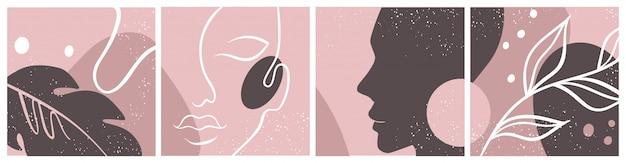 抽象的な女性の顔、シルエット、花の要素1つの線の描画で設定。