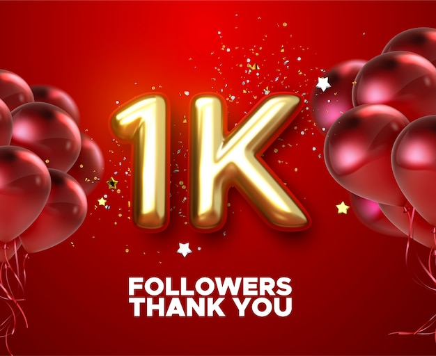 1k, 1000 followers thank you with gold balloons and colorful confetti. illustration 3d render for social network friends, followers,