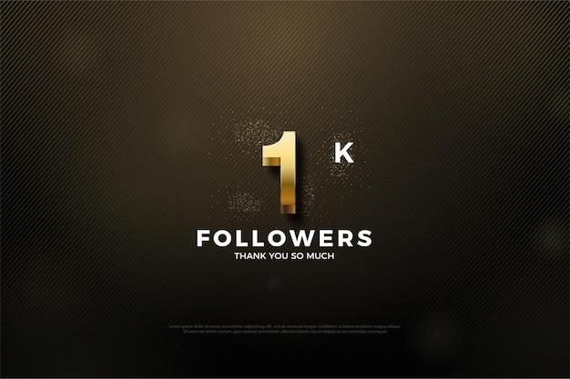 1k последователей фон с красивым золотым номером и блеском.