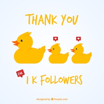 1k follower background with ducklings