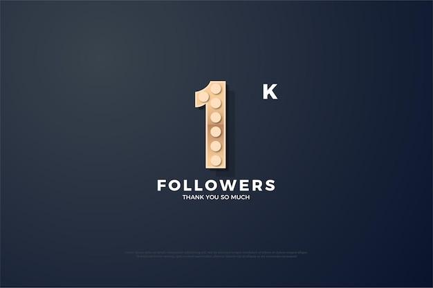 Фон из 1k последователей с великолепными текстурированными иллюстрациями фигур.