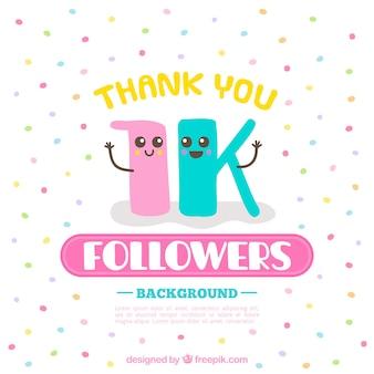 1k символов последователей с красочными конфетти