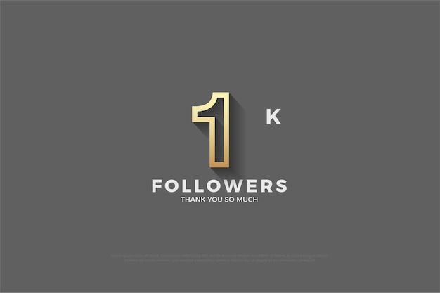 1k последователей серый фон со светло-коричневым обведенным номером.