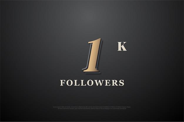 1k последователей с коричневым числом на градиентном черном фоне.