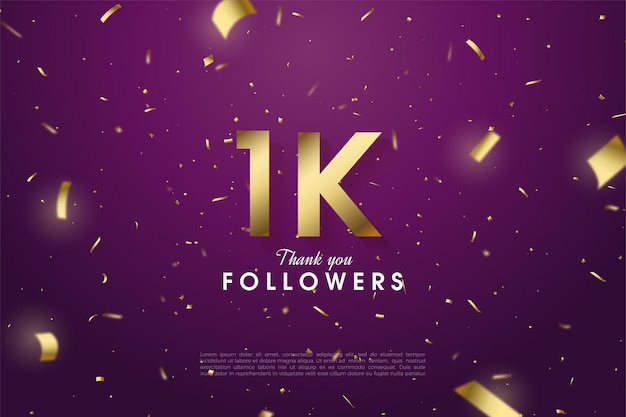 1k follower with gold number and letters.
