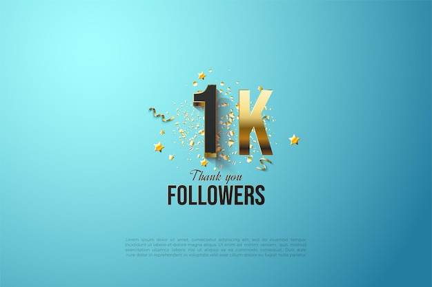1k follower with gold plated number and letters.