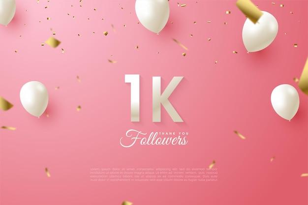 1k последователей с иллюстрацией числа и летающих воздушных шаров.