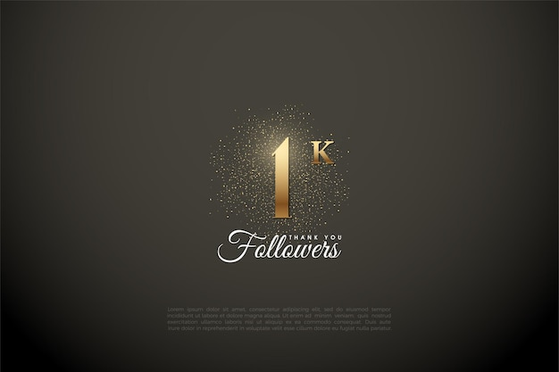 1k follower with number and gold glitters