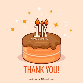 1k followers cake background with candles