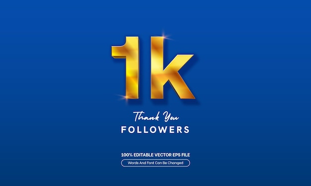 1k followers gold bold subscribers editable text effect for banner sosial media youtube