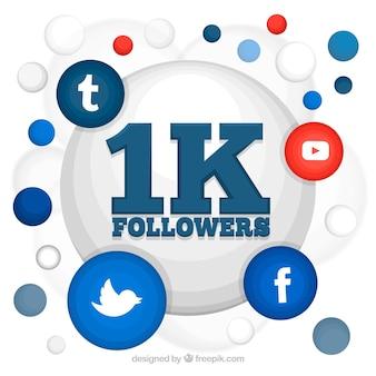 1k последователей социальных медиа дизайн