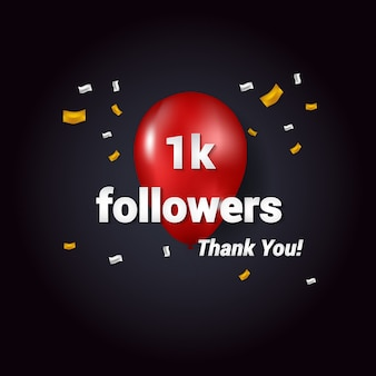 1k Thank You Follower vector Background for social media