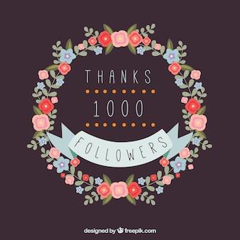 Фон 1k последователей с цветочным венком