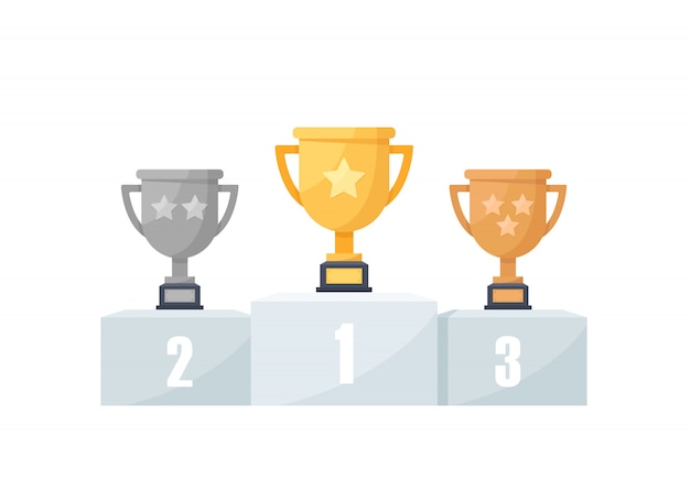 1st, 2nd and 3rd places. gold, silver, bronze,trophy,flat design icon