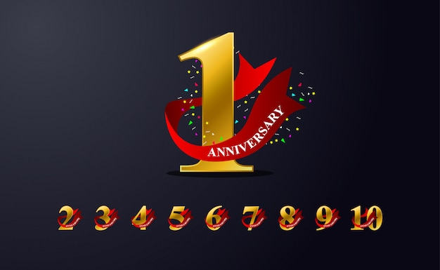 1st anniversary celebration emblem design with golden colour