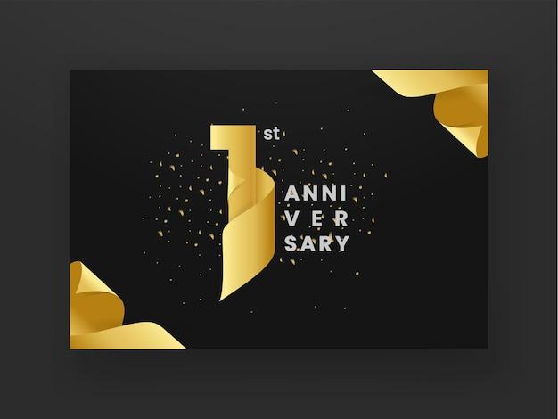 1st anniversary golden ribbon logotype celebration banner on dark background