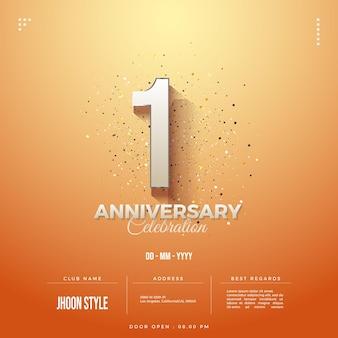 日付とクラブ名を含む1周年記念招待状の背景