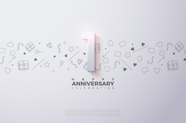 1st anniversary with a faded number illustration at the top.