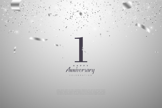 1st anniversary with falling numbers and silver ribbons.