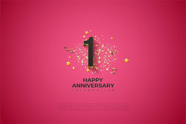 1-я годовщина с цифрами, покрытыми коричневым золотом.