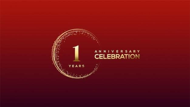 1-ая годовщина с иллюстрациями золотого числа и золотыми буквами с блестящими кругами.