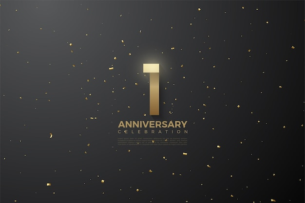 1st anniversary with golden brown numbers on black background with gold spots.