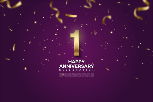1st anniversary with golden numbers on purple background and falling gold ribbons.