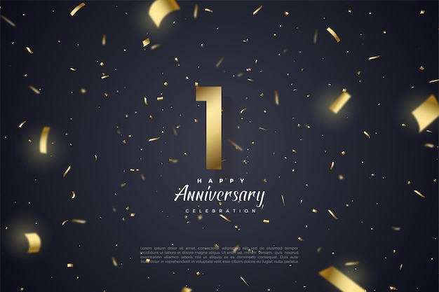 1st anniversary with golden numerals and golden ribbons that form light grading.