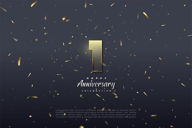 1st anniversary with graded numbers illustration and golden brown border.