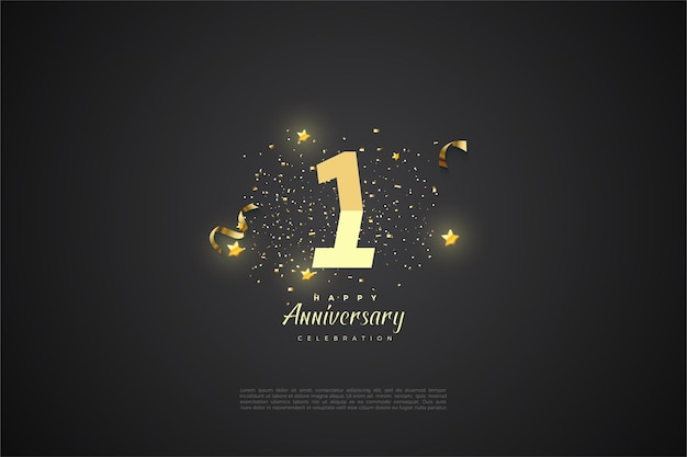 1st anniversary with graded numbers illustration and small stars.