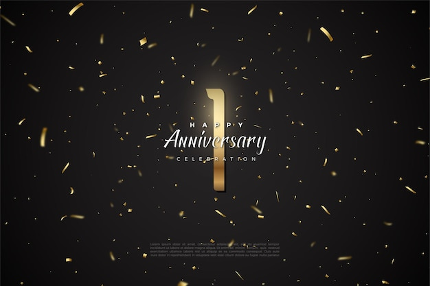 1st anniversary with illustration of golden numbers on top of outer space.